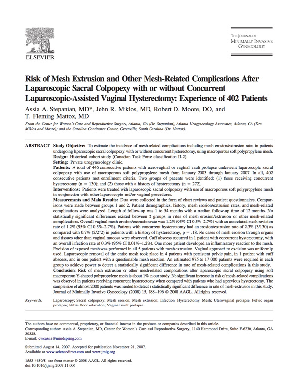 transvaginal mesh essay Transvaginal mesh is a net-like implant used mainly to treat stress urinary incontinence and pelvic organ prolapse learn more about the uses and risks.